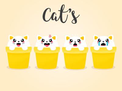 Cat's pattern flat emotions cat icon vector ai design illustration