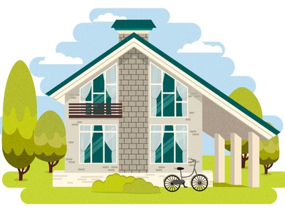 House colors town house home flat design ai illustration