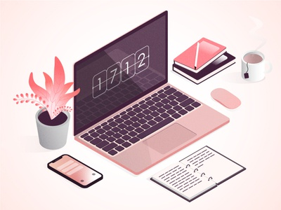 Work time workspace team notebook macbook iphone flower clock vector colors design illustration ai