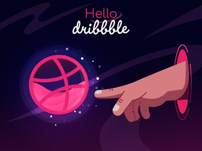 Hello dribbble design cosmos hellodribbble hello dribbble pink hello hand stars planet dribbble cosmic colors illustration ai