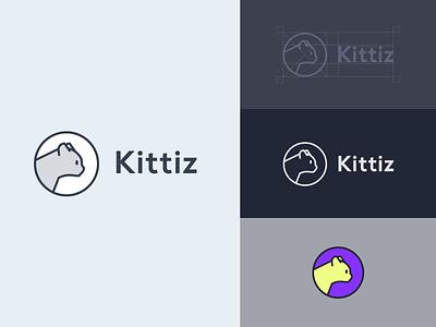 Kittiz line cat animals animal symbol design graphic identity concept mark logo