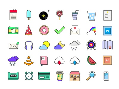 35 Colorful Icons for Free icon icons free download vector icon design graphic design creative new inspiration