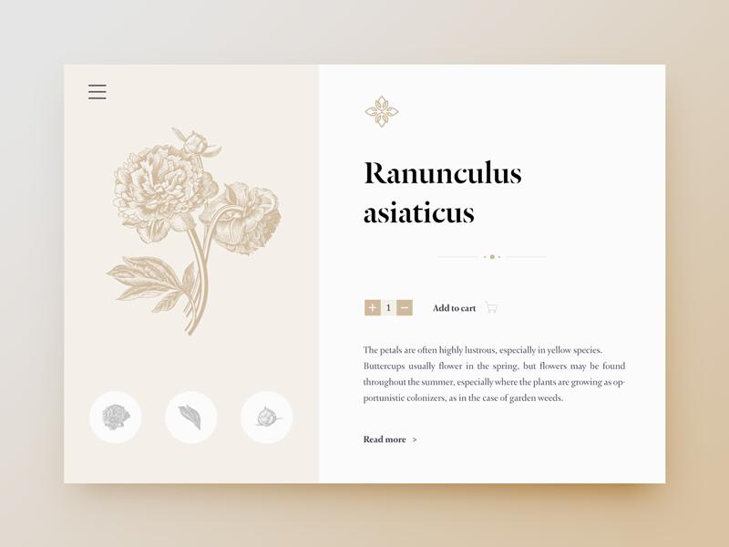 Floralium App grid layout website typography flower inspiration ux ui concept app