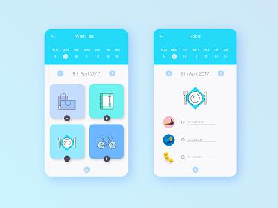 UI experiment #8 - Wish list experiment concept ux interface icons flat userinterface ui app wishlist