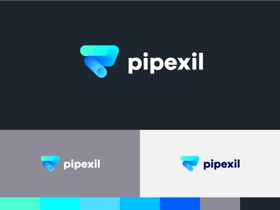 Pipexil proposal hydraulic gradient color letter p industry vector logotype symbol design monogram graphic concept identity mark logo
