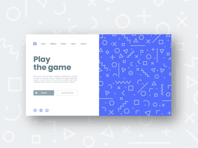 Play the game blue ux ui design ux-ui icon concept landing page app design ui game