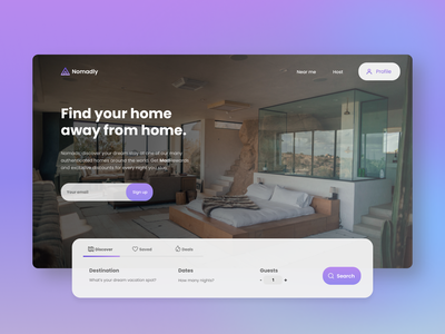 Introducing... Nomadly! gradient ux landing homepage booking travel branding photography web ui design