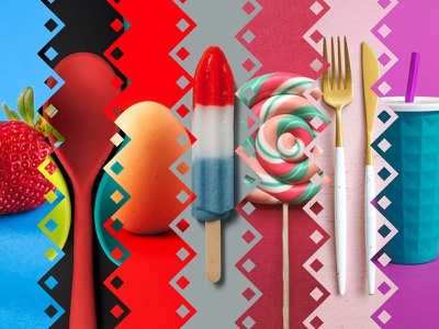 Diamond panoramic strawberry spoon egg red pink knife fork icecream color collage diamond graphic art design graphic  design action photoshop action photoshop actions