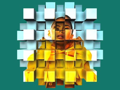 Cube Explode 01 effect photoshop smartobject geometry boxes yellow girl mockup perspective extrusion bos cubes cubeexplode