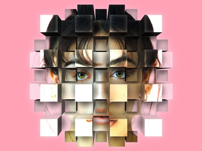 Cube Explode Photo Effect perspective eyes pink girl face portrait mure bricks wall box effect photo effect mura concept photoshop smart object geometry extrusion explode cube