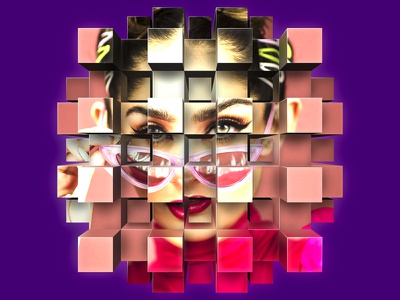 Cube Explode Portrait face model eyes purple girl portrait wallpaper mural smart object illustration graphic art photoshop cubes geometry vanishing point box perspective extrusion explode cube