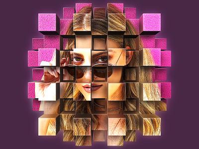 Cube Explode Portrait mural illustration design purple glasses sunglasses boxes box portrait pink perspective extrusion cubes