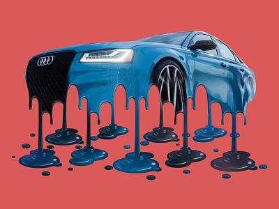 Melting Audi audi graphic art melt melting-picture melting melted meltdown action graphic  design photoshop actions photoshop action illustration design