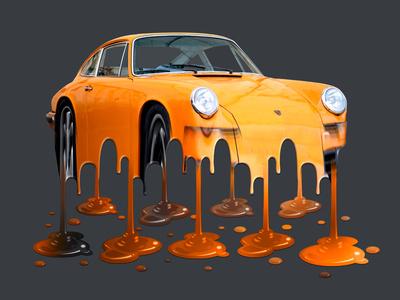 Melting Porsche porsche car yellow melt melting-picture melting melted meltdown graphic art action graphic  design photoshop actions photoshop action illustration design