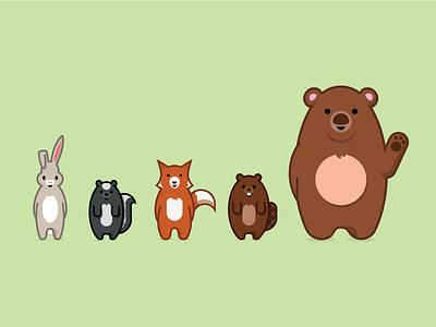 Woodland critters bear rabbit skunk beaver critters forrest illustration
