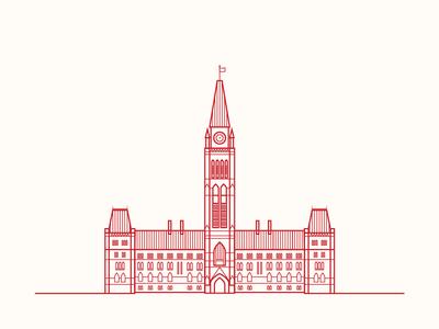 Ottawa Parliament line art illustration ottawa