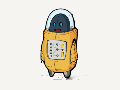Lost robot illustration pencil lost ipad
