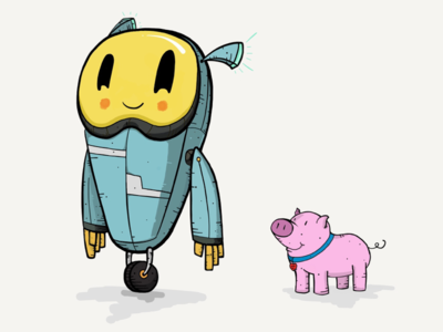 H3NRY and his Pig ink draw ipad pencil illustration robot pig