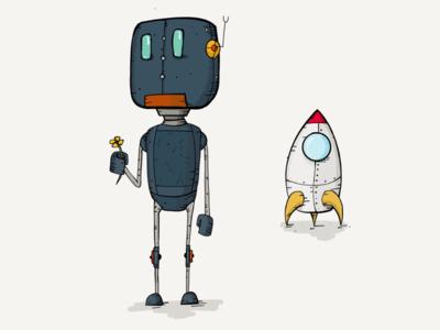 Peace ship friendship robot pencil ipad human flower