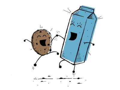 Best friends illustrate paper ipad draw cookies milk