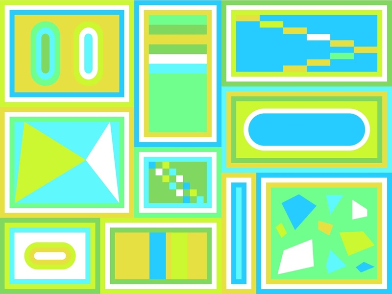 Boxes fun green design geometic drawing digital color illustration