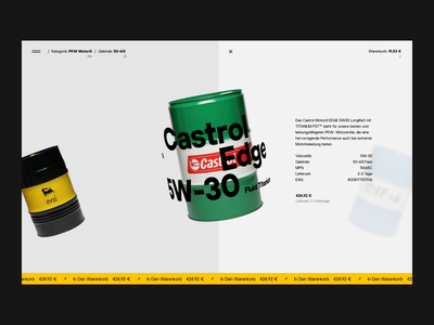 Castrol - Experimental Animation Concept concept experience webdesign website slider motion homepage animation