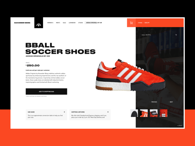 Adidas by Alexander Wang interface fashion concept ux web ui design