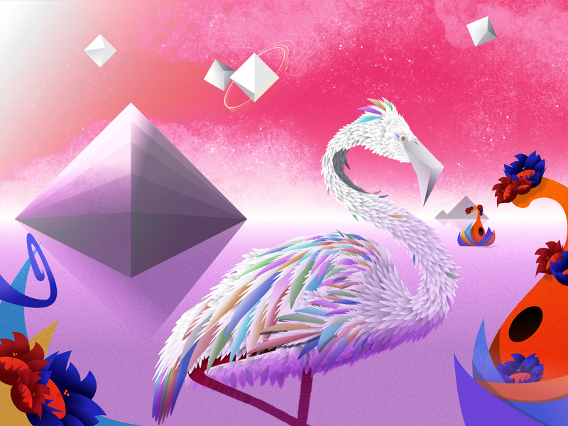 Diamond World flamingo horizon planet scifi space affinity photo affinity designer vector illustration