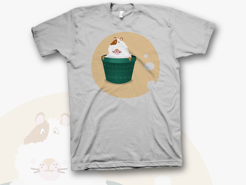 hamster hero cartoon rodent teeth wool green vase cheese children drawing sticker gray t-shirt hamster