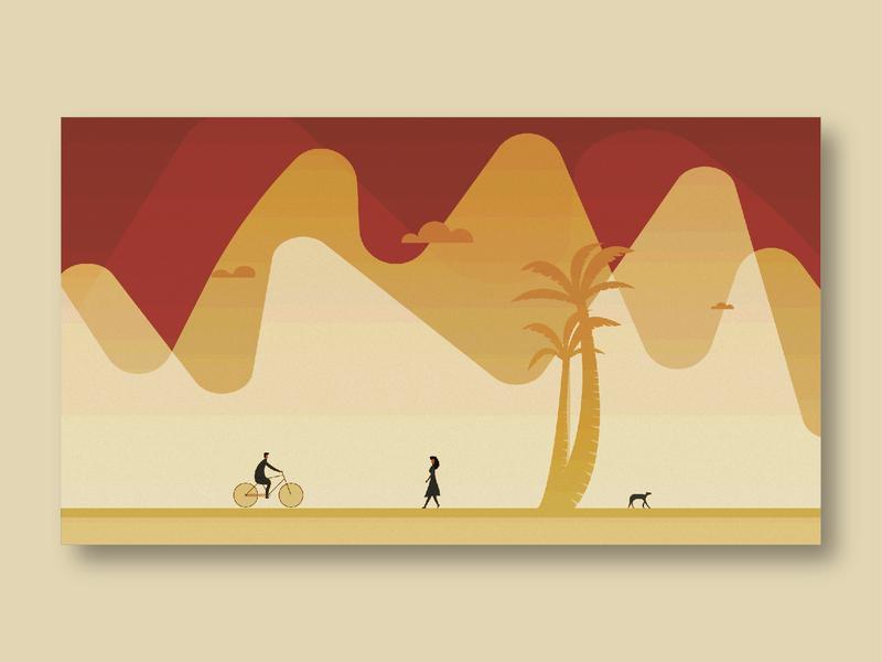 An Evening. cycling sunlight walking design illustration