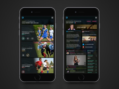Youth Sports Mobile Application dark youth sports application mobile