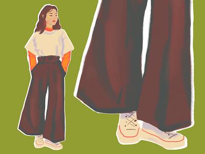 DAY 11 pose girl fashion illustration fashion challenge hand drawn portrait digital painting sketch illustration drawing