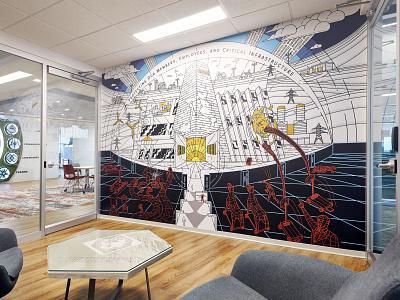 Stronghold Mural Design vector branding muralist security cyber tron illustration mural design mural