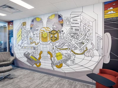Mural Design : The Forge vector mural design branding forge fire illustration graphic design mural