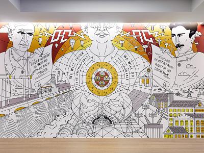 Reactor Mural design monoline electricity vector illustration graphic design branding mural reactor edison tesla