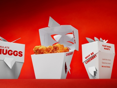 NUGGS Launch Campaign - To Go Container packaging design packaging chicken advertising design vegetarian nuggets food branding photography advertising