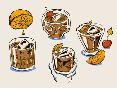 Blood And Sand Cocktail Illustrations
