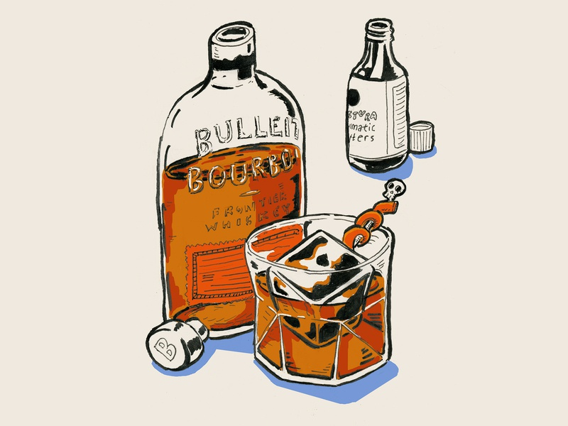 Old Fashioned Cocktail Illustration skull rocks bitters bourbon whiskey cocktail illustration