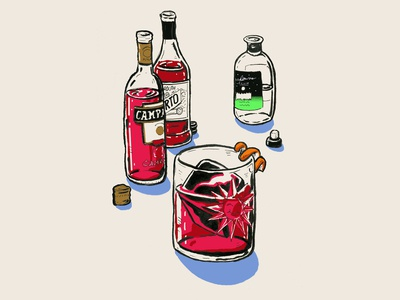 Negroni Cocktail Illustration