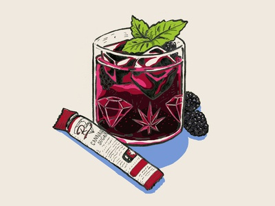 Cannabis Blackberry Mint Cocktail Illustration