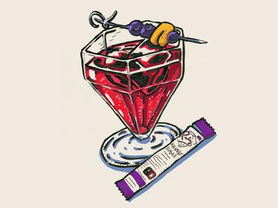Cannabis Soda Cocktail Illustration
