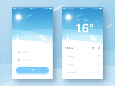 Weather Login App interface illustration sketch ps ios app in log weather