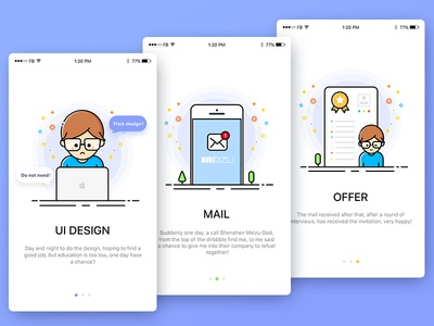 Competence and Diploma design work app illustration guide ios