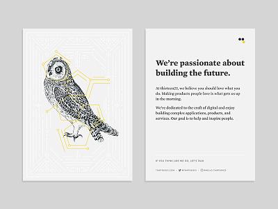 Building the Future postcard illustration thirteen23 print brand owl tarot