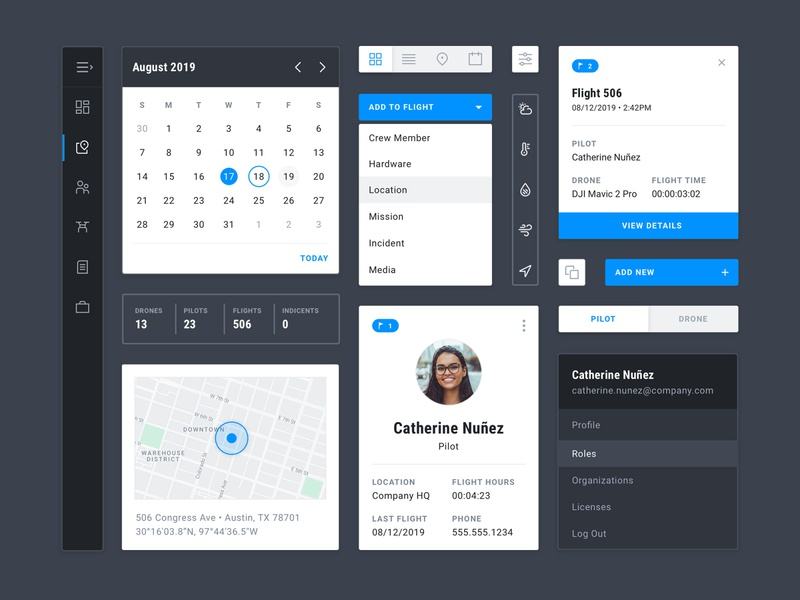 UI Kit maps blue cards nav toggles dropdown calendar modular visual design components ui