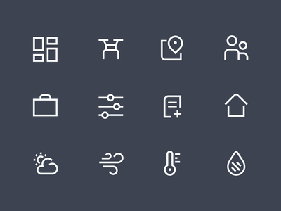 Line Icons humidity temperature sunny wind weather home documents filter resources people maps dashboard drones linework icons