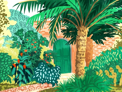 The House With The Green Door palms palm garden bohemian boho modern architecture jungle forest wildlife trees greece travel tropical botanical nature watercolor