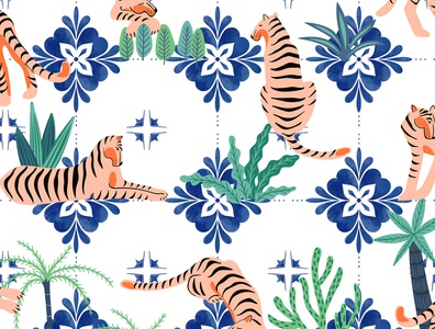 Tigers in Morocco jungle nature botanical greece tiles bohemian eclectic boho wildlife animals travel morocco tropical cheetah tigers pattern watercolor