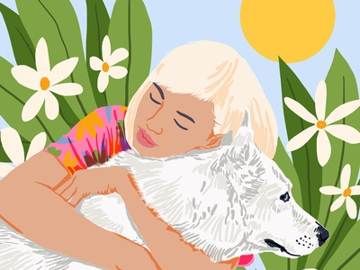 All You Need Is Love And A Dog simple modern wildlife animals garden nature floral plants botanical empower feminism bohemian boho love dog pets girl lady woman portrait