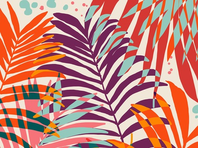Find Me Under The Palms graphic wildlife forest jungle new years holidays summer palms colorful vibrant modern bohemian boho plants botanical tropical palm pattern graphic design
